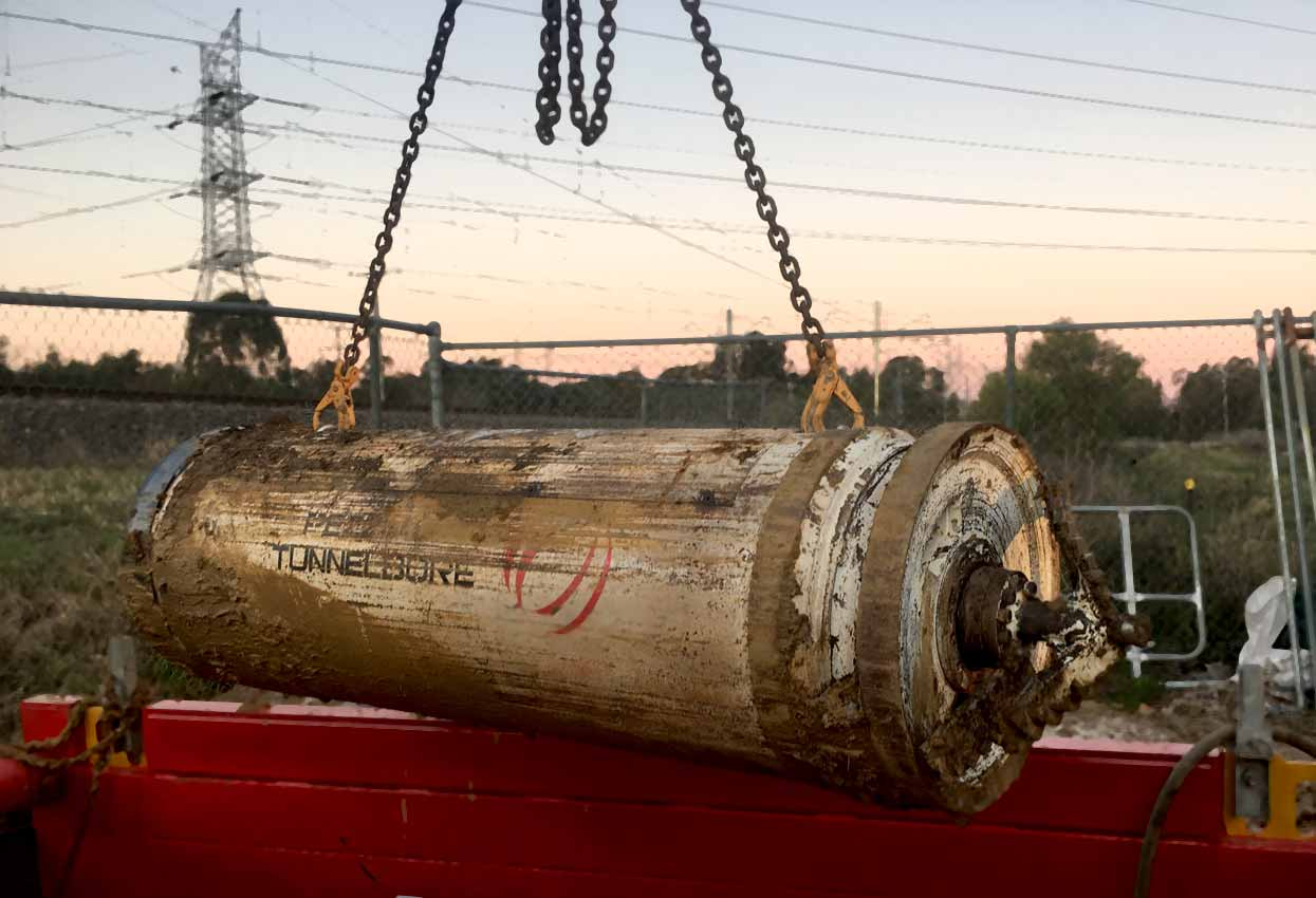 Mount-Druitt-Microtunneling-Pezzimenti-Tunnelbore-8-Head-Removed-From-Shaft