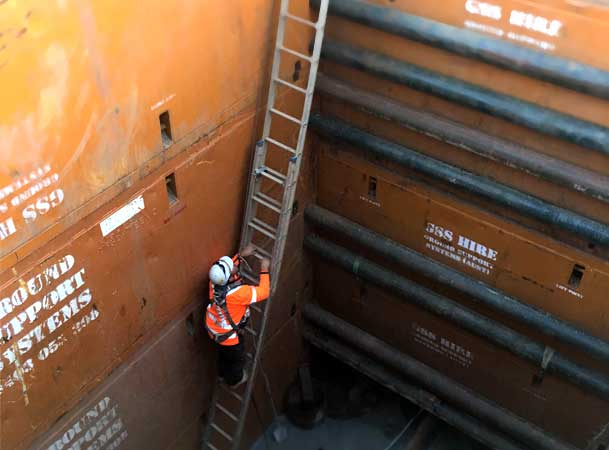 Leppington Pezzimenti Microtunnelling operator climbs out of deep shaft