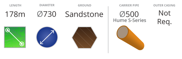 Marrangaroo Pezzimenti Microtunnelling 178m 730mm diameter Sandstone