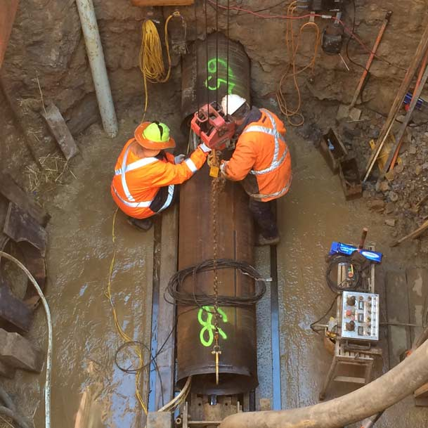 Jordan Springs Microtunnelling Slipline Outer Casing into Freebore