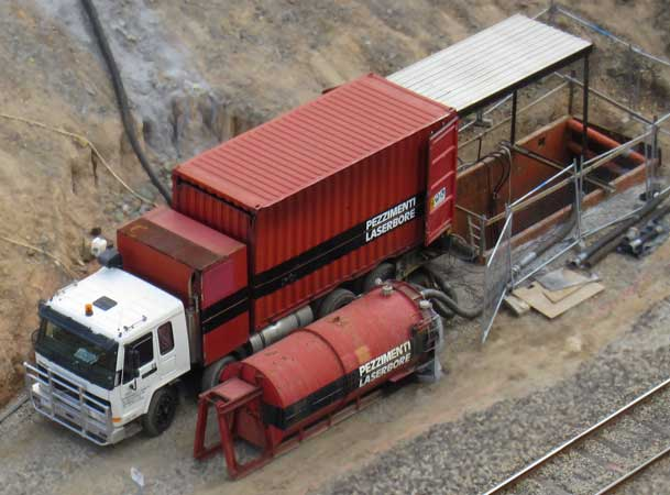Marrangaroo Microtunneling Gantry Truck Water Bin next to Railway