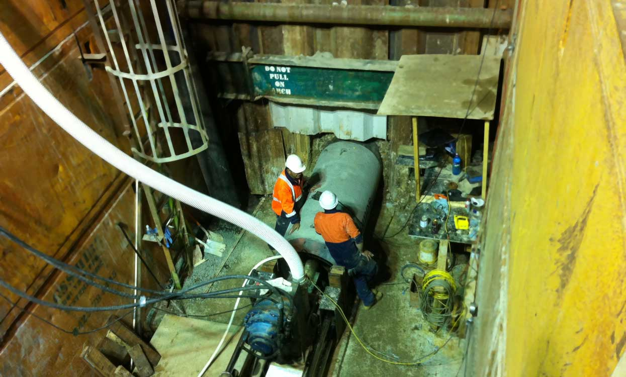 Sydenham Microtunneling Under Railway Deep Shaft Night Work