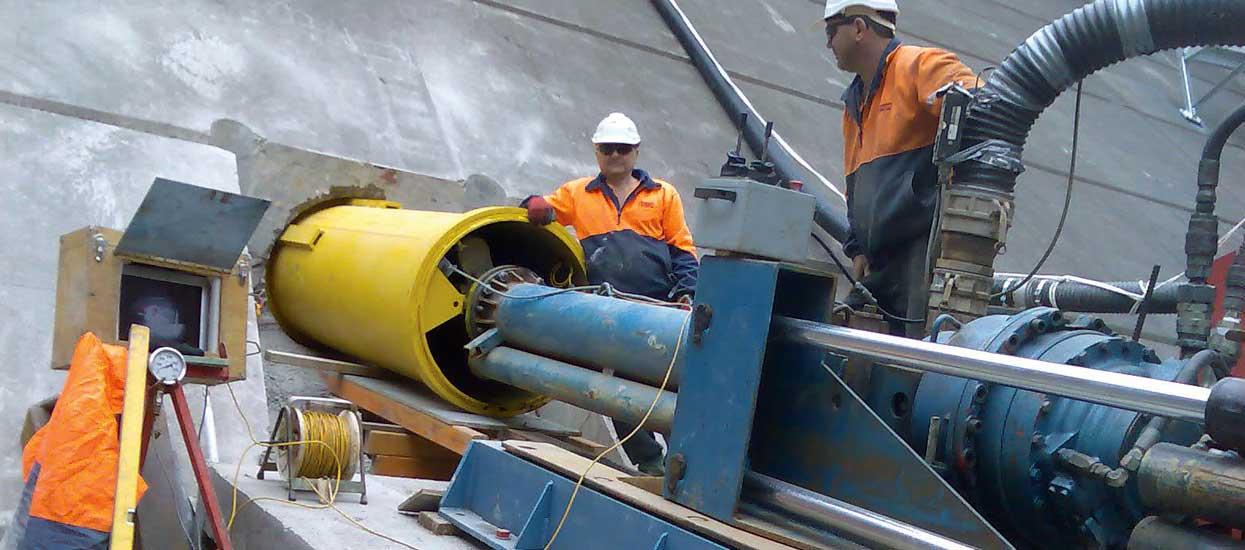 Tallowa Dam Microtunneling Pezzimenti Operators Drilling