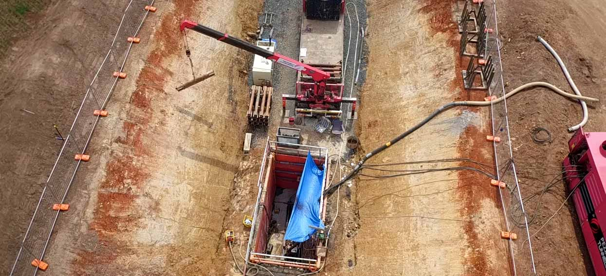 Oran Park Microtunneling Overhead of Site Setup