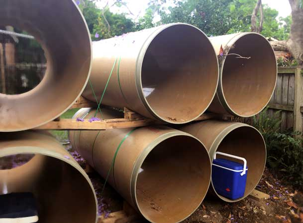 Macquarie Park Pezzimenti Tunnelbore Microunnelling Pipe Stockpile