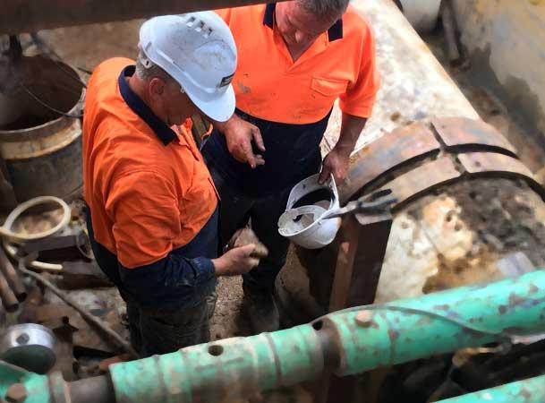 Macquarie Park Pezzimenti Tunnelbore Microtunnelling Operator and Client Inspect Debri