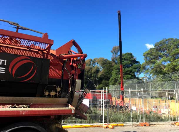 Sydney University Pezzimenti Tunnelbore Microtunnelling Vacuum and Hook Truck on Site