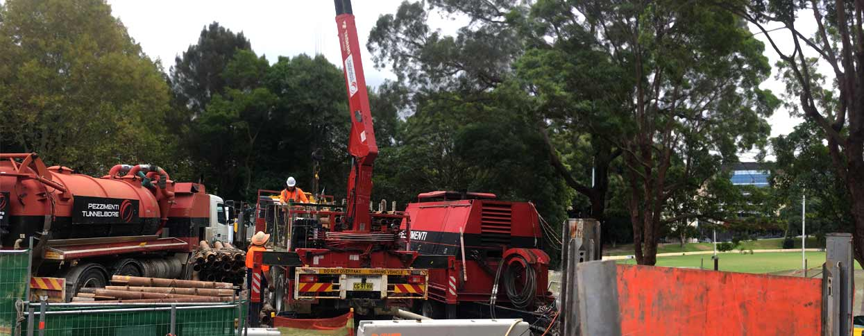 Sydney University Pezzimenti Tunnelbore Microtunnelling Site Setup and Equipment