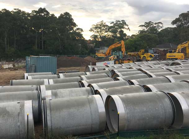 Cherrybrook Microtunnelling Pezzimenti Pipe Stockpile