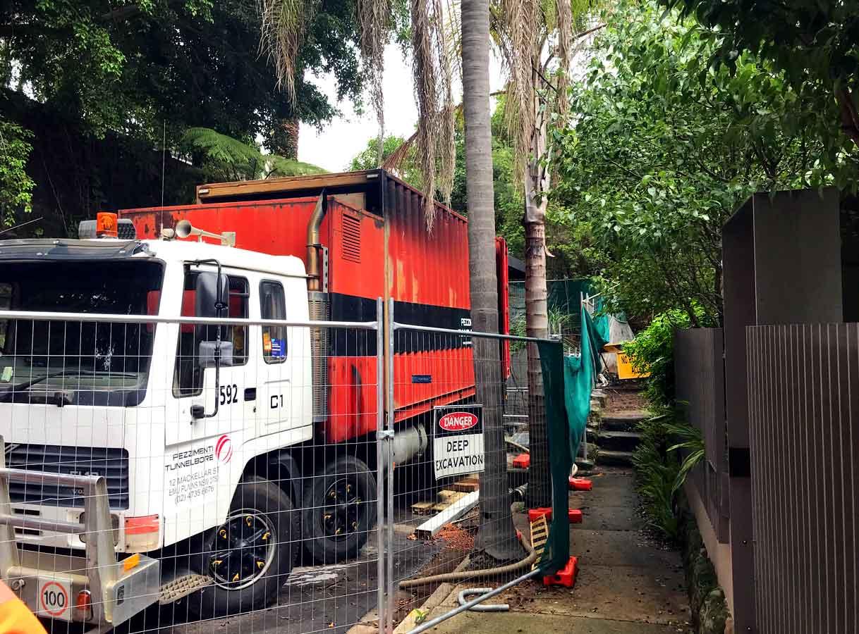 Microtunnelling Paddington very tight access Gantry Truck