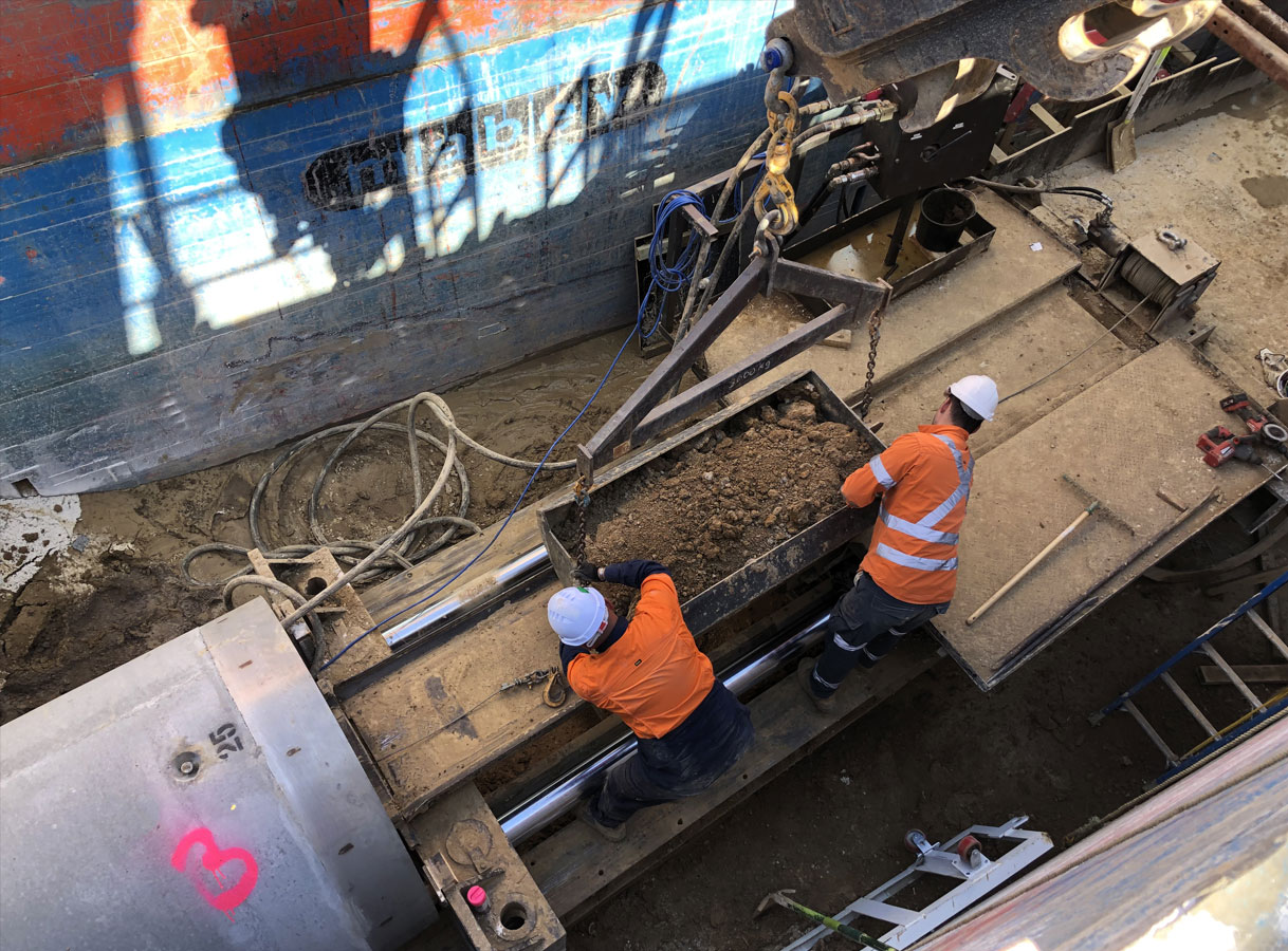 Penrith Open Faced Shield Microtunnelling Removing Spoil